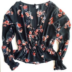 DIVIDED Black Floral Top
